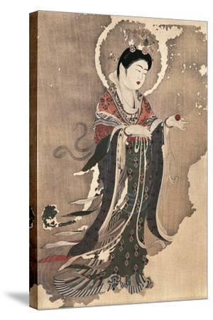 Kichipoten, Buddhist Goddess of Beauty, Painting on Hemp, Japan, Nara Period, 8th Century--Stretched Canvas Print