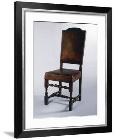 Chair with Leather Cover, Made in Parma, Soragna Castle, Emilia Romagna, Italy--Framed Giclee Print