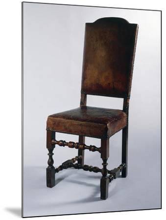 Chair with Leather Cover, Made in Parma, Soragna Castle, Emilia Romagna, Italy--Mounted Giclee Print