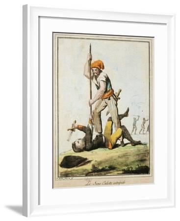 Sans-Culotte Killing One of King's Guards, French Revolution, France--Framed Giclee Print