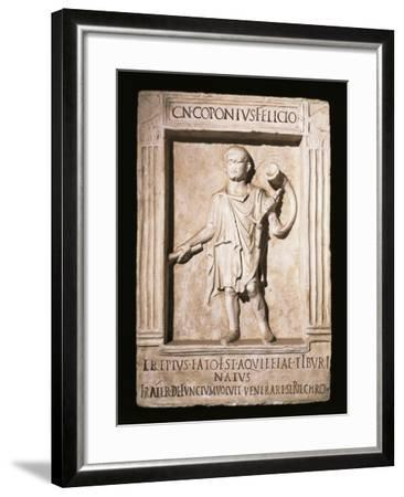 Stele of Trumpeter Cneus Coponius Felicio with Horn on Shoulder--Framed Giclee Print