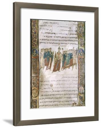 Miniature from the Four Gospels, Greek Manuscript, 12th Century--Framed Giclee Print