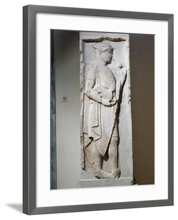 Stele with Relief Depicting Hermes, from Larisa, Greece--Framed Giclee Print