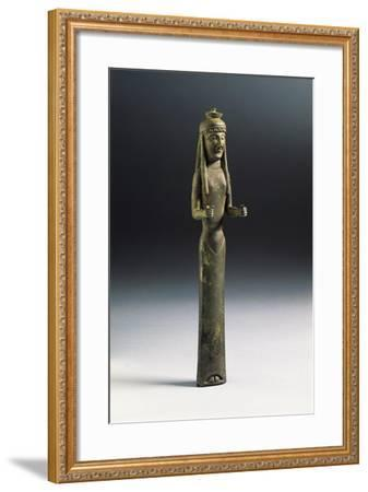 Italy, Siena Province, Gaiole in Chianti, Brolio, Bronze Statue Depicting Figure Making Offering--Framed Giclee Print