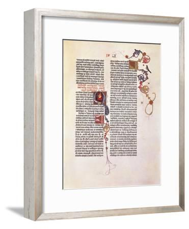 Page from the Bible for 42 Lines or Mazarinaed by Johan Gutenberg 15th Century.--Framed Giclee Print