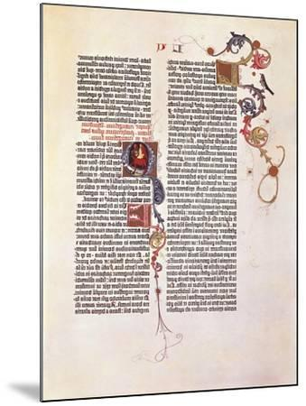 Page from the Bible for 42 Lines or Mazarinaed by Johan Gutenberg 15th Century.--Mounted Giclee Print