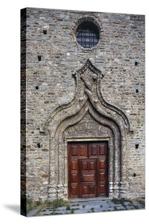 Door of the Church of St Martin, Arnad, Valle D'Aosta, Italy--Stretched Canvas Print