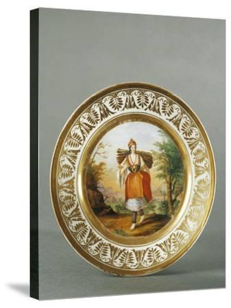 Plate Decorated with Figure of Woman from Carata, 1790--Stretched Canvas Print