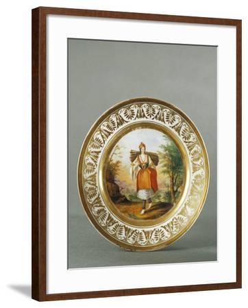 Plate Decorated with Figure of Woman from Carata, 1790--Framed Giclee Print