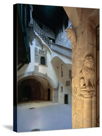 Courtyard and Staircase, Magistrate Palace Palazzo Pretorio--Stretched Canvas Print