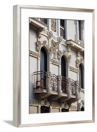 Art Nouveau Balcony of House in Piffetti 10 Bis Street, Turin, Piedmont, Italy--Framed Giclee Print