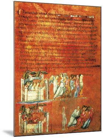 Flight of Loth and the Destruction of Sodom, Miniature from Genesis of Vienna--Mounted Giclee Print
