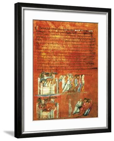 Flight of Loth and the Destruction of Sodom, Miniature from Genesis of Vienna--Framed Giclee Print