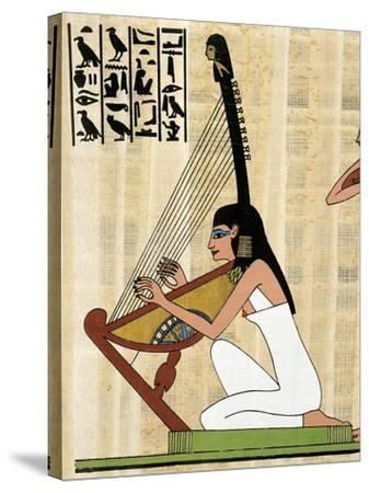 Papyrus Depicting Female Harp Player, Reconstructed Mural Painting from Theban Tomb of Rekhmire--Stretched Canvas Print
