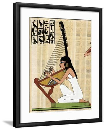 Papyrus Depicting Female Harp Player, Reconstructed Mural Painting from Theban Tomb of Rekhmire--Framed Giclee Print