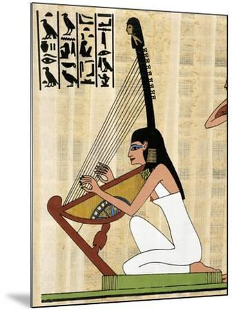 Papyrus Depicting Female Harp Player, Reconstructed Mural Painting from Theban Tomb of Rekhmire--Mounted Giclee Print