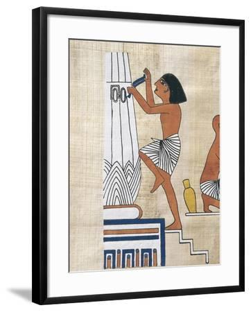 Papyrus Depicting Worker Decorating Lotus Form Pillar--Framed Giclee Print
