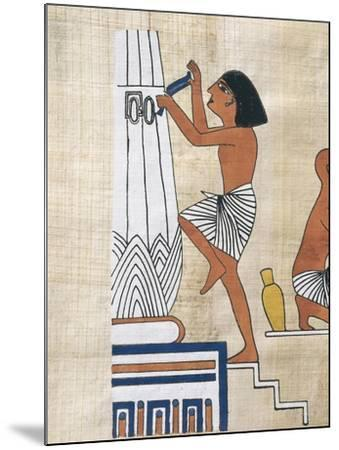 Papyrus Depicting Worker Decorating Lotus Form Pillar--Mounted Giclee Print