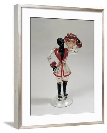 Statuette of Moor with Fruit Basket, Clear Blown Glass and Solid Glass, 1925-1930, Murano, Italy--Framed Giclee Print