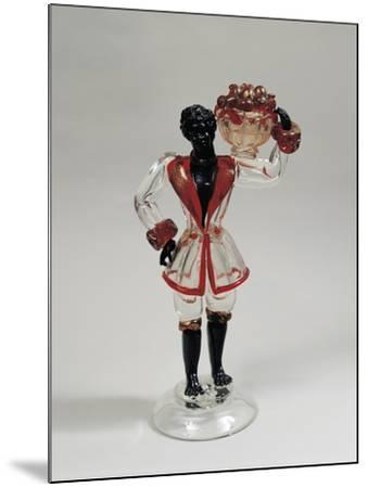 Statuette of Moor with Fruit Basket, Clear Blown Glass and Solid Glass, 1925-1930, Murano, Italy--Mounted Giclee Print