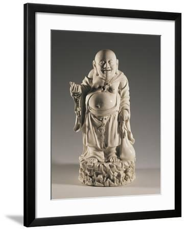 Budai, also Called the Smiling Buddha, on Rocks with a Sack and a Buddhist Rosary--Framed Giclee Print