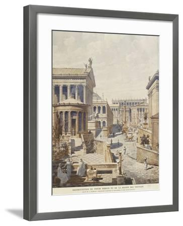 Rome, Ideal Reconstruction of the Roman Forum, the Temple of Vesta by J. Hofbauer, 1911--Framed Giclee Print