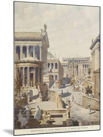 Rome, Ideal Reconstruction of the Roman Forum, the Temple of Vesta by J. Hofbauer, 1911--Mounted Giclee Print