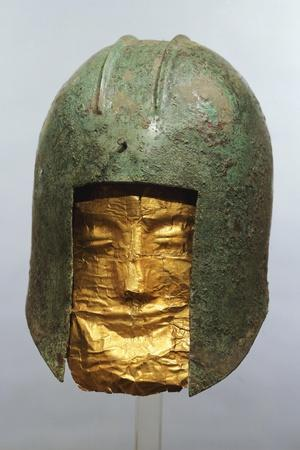 Warrior's Helmet with Gold Mask from Sindos, Greece--Framed Giclee Print