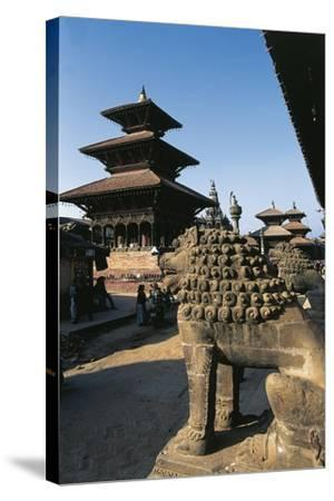 Nepal, Kathmandu Valley, Lalitpur, Patan, Temple of Vishnata and Lion Sculpture--Stretched Canvas Print