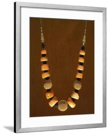 Necklace in Macro-Granular Wrought Gold and Coral, Yemen, 19th-20th Century--Framed Giclee Print