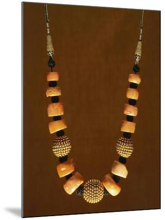 Necklace in Macro-Granular Wrought Gold and Coral, Yemen, 19th-20th Century--Mounted Giclee Print