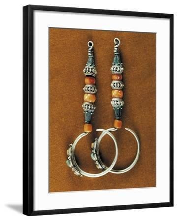 Earrings in Sterling Silver, Coral and Turquoise, Region of Tibet, Early 20th Century--Framed Giclee Print