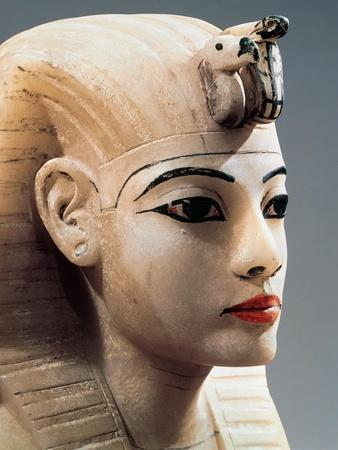 Ancient Egyptian Painted Alabaster Head from Treasure of Tutankhamen--Framed Giclee Print