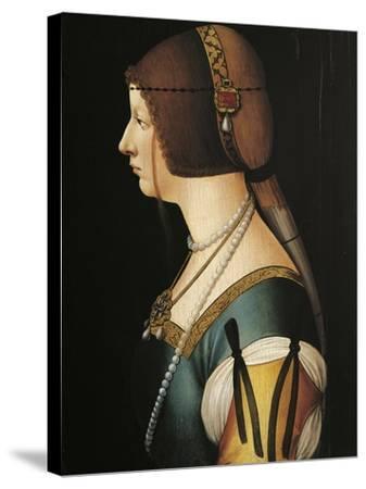 Portrait of Bianca Maria Sforza, Painting by Giovanni Ambrogio De Predis, 1493--Stretched Canvas Print