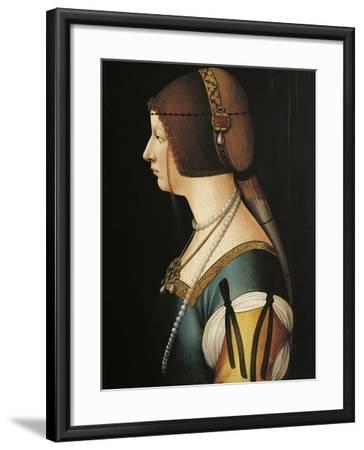 Portrait of Bianca Maria Sforza, Painting by Giovanni Ambrogio De Predis, 1493--Framed Giclee Print