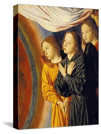 Angels, Detail from Right Side of Central Panel with Madonna Enthroned with Angels--Stretched Canvas Print