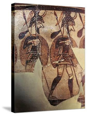Ceramics, Krater known as 'Warrior Vase', Detail, Armed Soldiers--Stretched Canvas Print