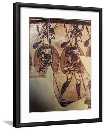 Ceramics, Krater known as 'Warrior Vase', Detail, Armed Soldiers--Framed Giclee Print
