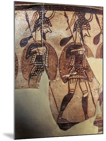 Ceramics, Krater known as 'Warrior Vase', Detail, Armed Soldiers--Mounted Giclee Print