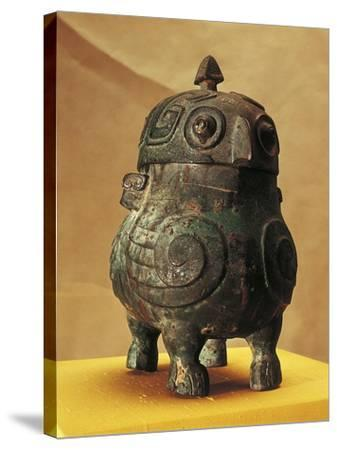 Japan, Shanxi, Shi Lou, Wine Vessel in the Shape of Two Stylized Owls, Found in 1957--Stretched Canvas Print