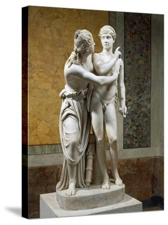 Marble Sculpture Group Portraying Cupid and Psyche--Stretched Canvas Print