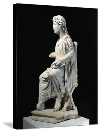 Marble Statue of Young Christ Seated on Stool, from Civita Lavinia, Rome--Stretched Canvas Print