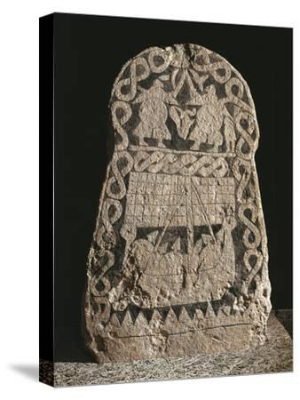 Sweden, Runestone Depicting Two Warriors Fighting and the Journey of the Vikings to the Valhalla--Stretched Canvas Print