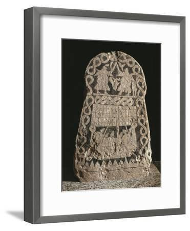 Sweden, Runestone Depicting Two Warriors Fighting and the Journey of the Vikings to the Valhalla--Framed Giclee Print