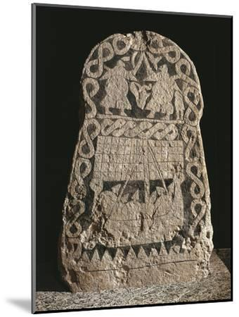 Sweden, Runestone Depicting Two Warriors Fighting and the Journey of the Vikings to the Valhalla--Mounted Giclee Print