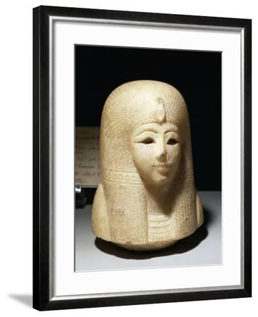 Egypt, Luxor, Ancient Egypt Museum, Canopic Jar Lid Representing Head of Queen Tuy--Framed Giclee Print
