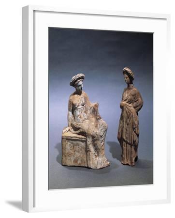 Libya, Cyrene, Terracotta Tanagrine Funeral Statuette in Form of Female Figures--Framed Giclee Print