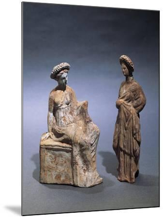 Libya, Cyrene, Terracotta Tanagrine Funeral Statuette in Form of Female Figures--Mounted Giclee Print