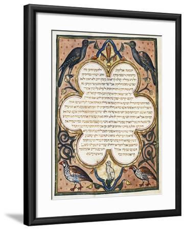 Page of Hebrew Bible Illuminated by Joseph Assarfati, Cervera Bible Manuscript, 1299--Framed Giclee Print