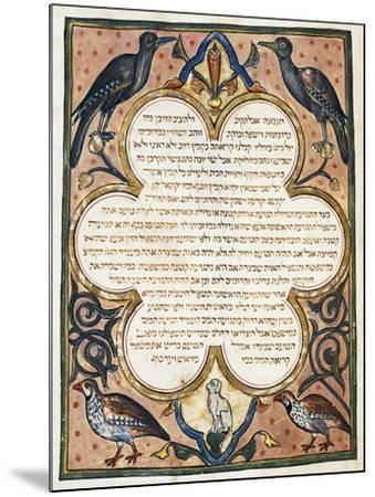 Page of Hebrew Bible Illuminated by Joseph Assarfati, Cervera Bible Manuscript, 1299--Mounted Giclee Print
